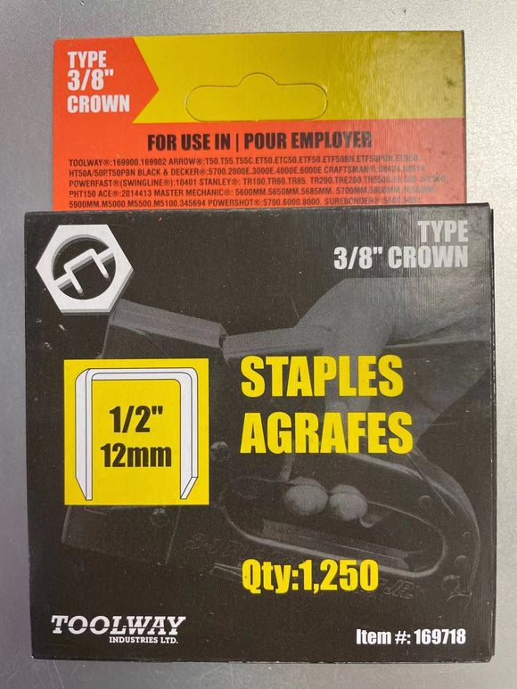 STAPLES T50 1/2in 12mm - Box of 1250