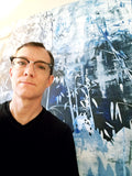 Jonathan Molvik in front of his painting, Hillside Abstract I