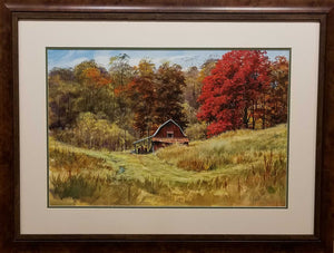 "Painting: Big Red Artist: Luke Buck Medium: Watercolor & Gouache Size: 20"" x 30"", Framed"