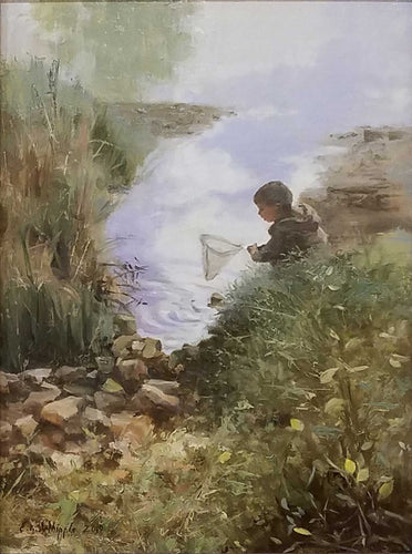 Painting: Catching Minnows Artist: Libby Whipple Medium: Oil  Size: 12