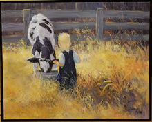 "Load image into Gallery viewer, Painting: Chore Time Artist: Susan Ring Medium: Oil Size: 24"" x 30"" Framed"