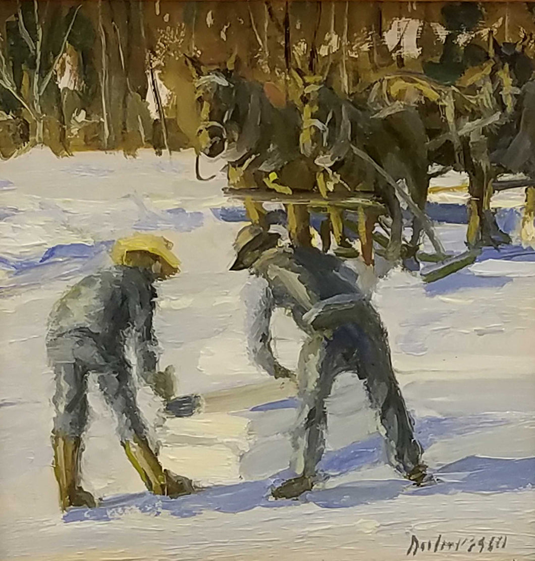 Cutting Ice Oil Painting by Fred Doloresco