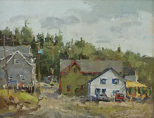 Downtown Port Clyde Oil Painting by Jerry Smith
