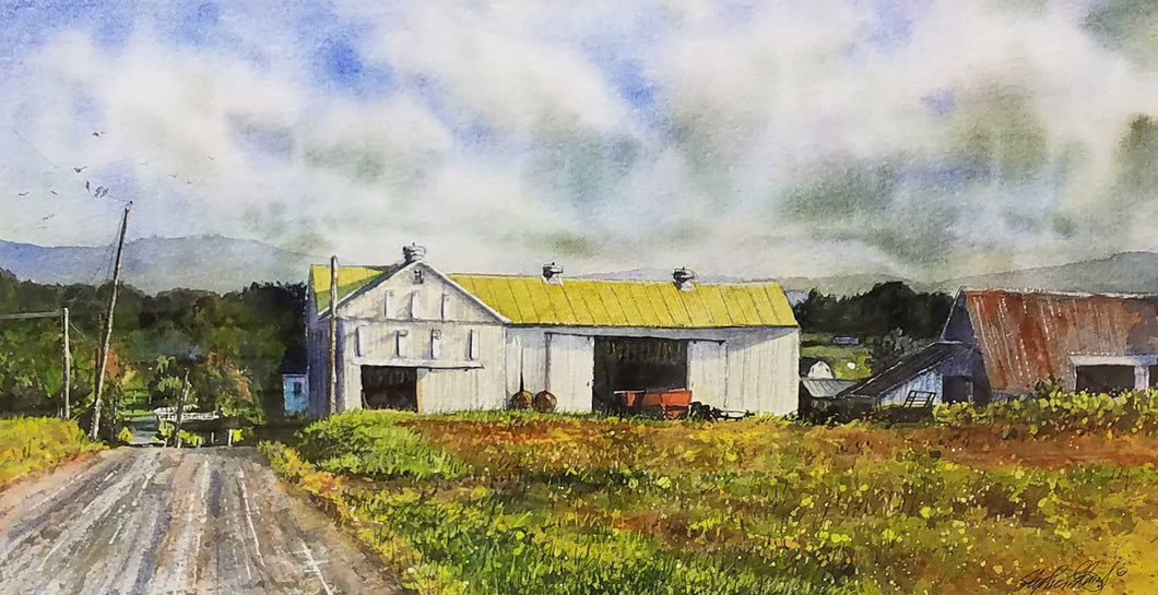 Lancaster Tobacco Farm Watercolor Painting by Stephen Edwards