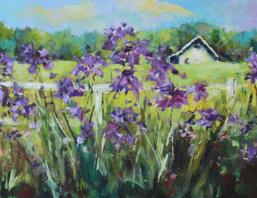 Painting: Purple Ladies of Fall Creek Farm Artist: Alice Harpel Medium: Oil Size: 9
