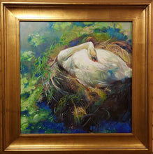 "Load image into Gallery viewer, Painting: Swan Lake Artist: Stephanie Spay Medium: Oil on Canvas Size: 24"" x 24"" Framed"