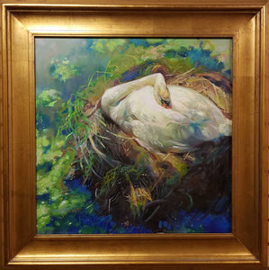 "Painting: Swan Lake Artist: Stephanie Spay Medium: Oil on Canvas Size: 24"" x 24"" Framed"