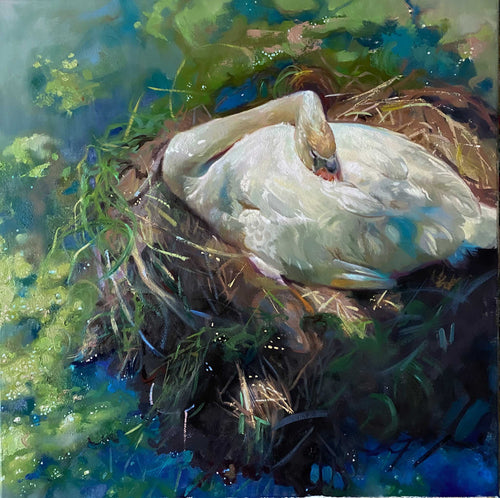 Painting: Swan Lake Artist: Stephanie Spay Medium: Oil on Canvas Size: 24
