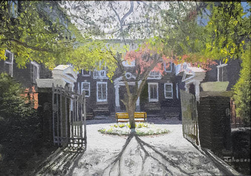Painting: The Courtyard Artist: J. R. Johnson Medium: Oil on Linen Size: 12