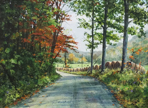 The Hay Row Road Acrylic Painting by Luke Buck