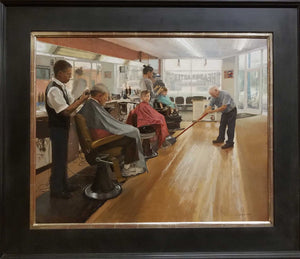"Painting: The Headquarters Barber Shop Artist: Libby Whipple Medium: Oil on Linen Size: 24"" x 30"" Framed    Award Winner: Award of Excellence $1000 Barbara and Kevin Sheehan Memorial Award Awarded By: Timothy, Alexa and Isla Sheehan"