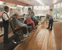 "Load image into Gallery viewer, Painting: The Headquarters Barber Shop Artist: Libby Whipple Medium: Oil on Linen Size: 24"" x 30"" Framed    Award Winner: Award of Excellence $1000 Barbara and Kevin Sheehan Memorial Award Awarded By: Timothy, Alexa and Isla Sheehan"