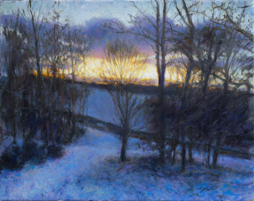 Painting: Winter Back Road Artist: Dan Bulleit Medium: Oil on Stretched Canvas Size: 14