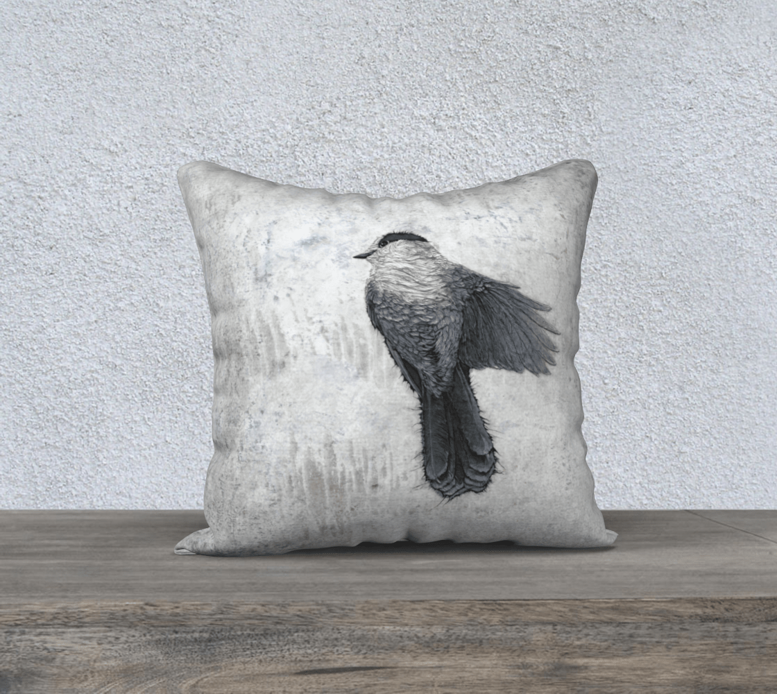 GRAY JAY 2 - CANADA JAY - CUSHION COVER - Col Mitchell ~ Wild Blackbird