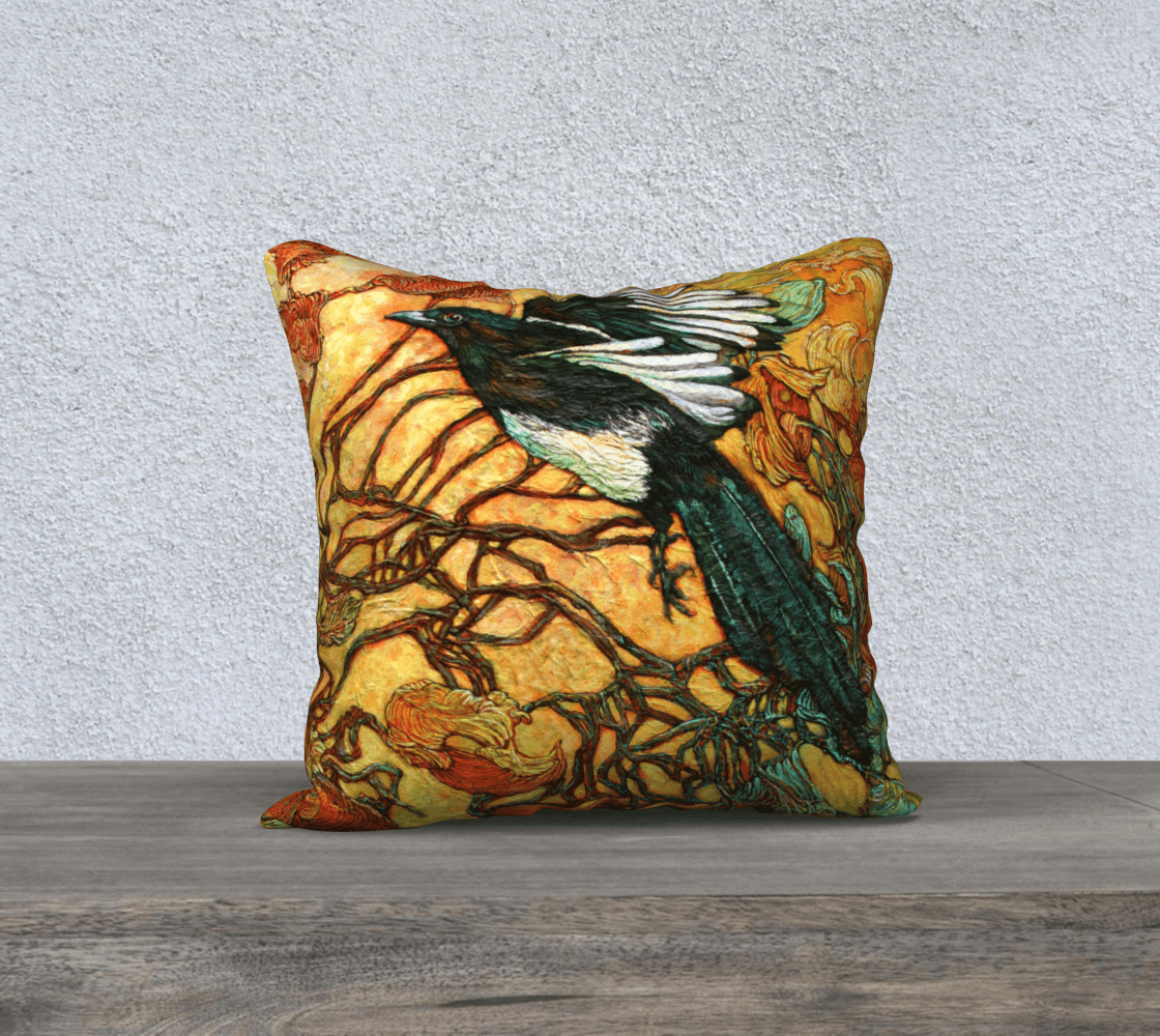 MAGPIE - CUSHION COVER - Col Mitchell ~ Wild Blackbird