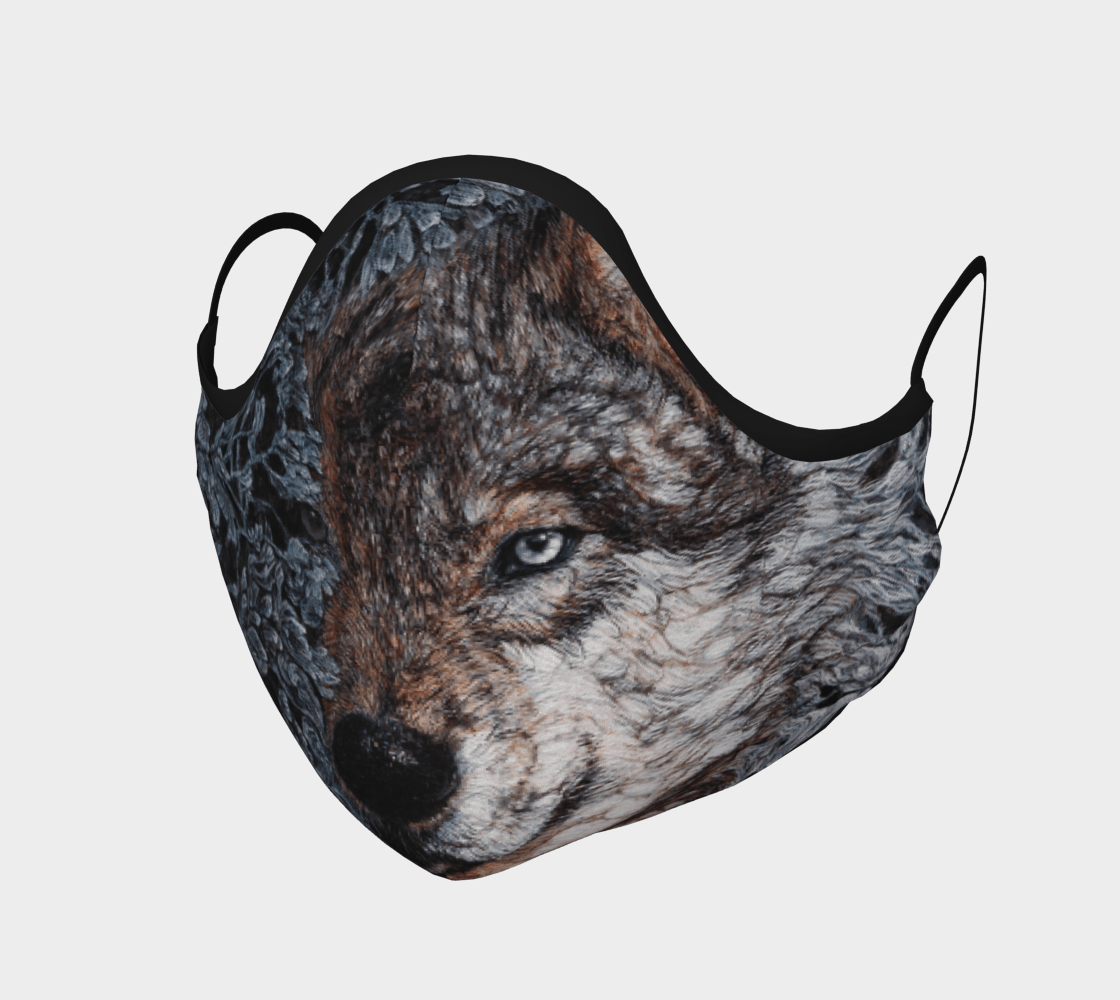 Night Wolf - Face Mask - Non Medical - Col Mitchell ~ Wild Blackbird