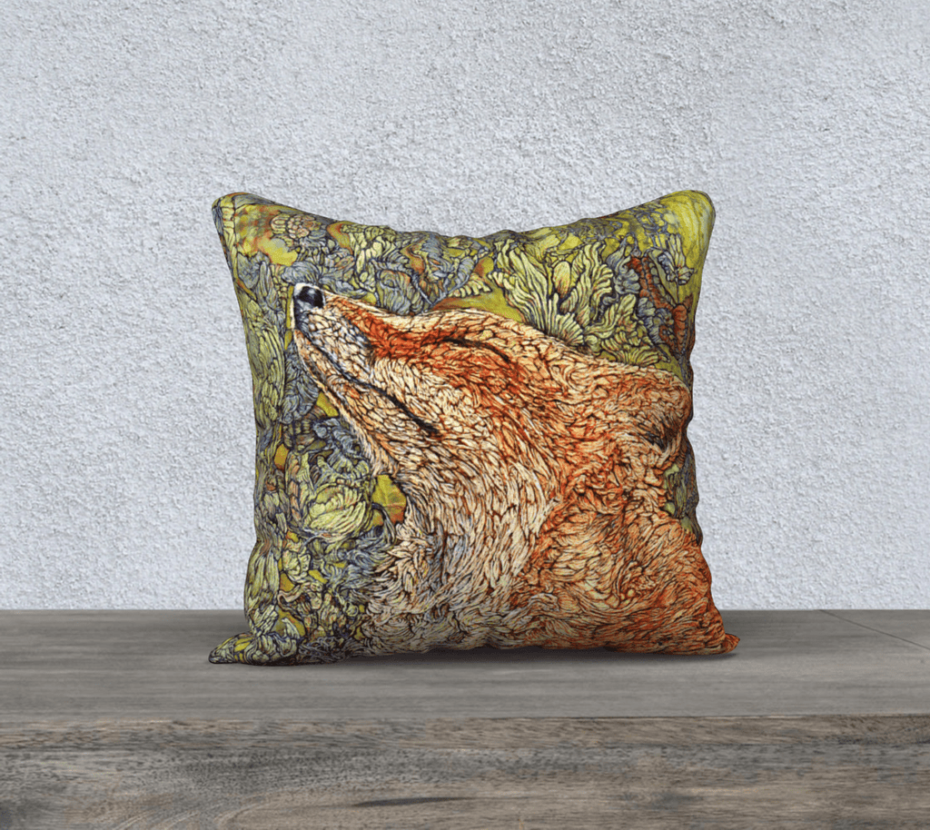 SCENTING FOX- CUSHION COVER - Col Mitchell ~ Wild Blackbird