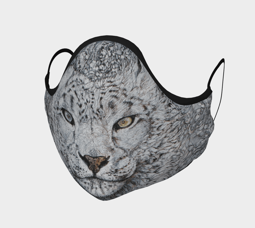 Snow Leopard - Face Mask - Non Medical - Col Mitchell ~ Wild Blackbird