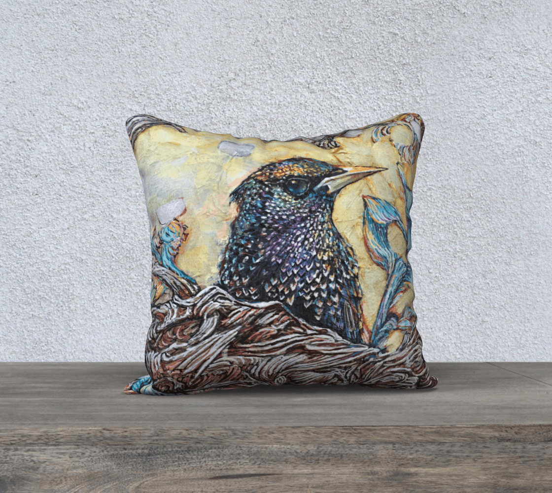 STARLING 2 - CUSHION COVER - Col Mitchell ~ Wild Blackbird