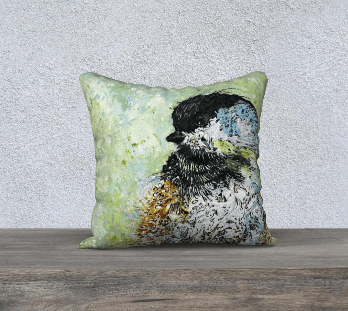 SWEET CHICKADEE 1 - CUSHION COVER - Col Mitchell ~ Wild Blackbird