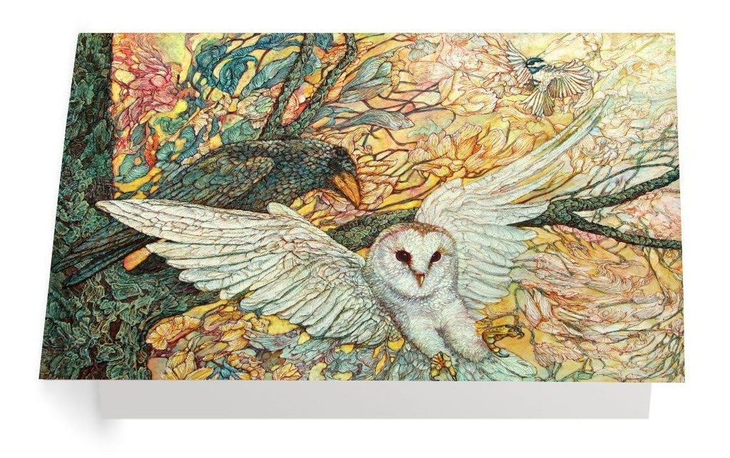 The Playground Owl and Raven – Art Card - Col Mitchell ~ Wild Blackbird