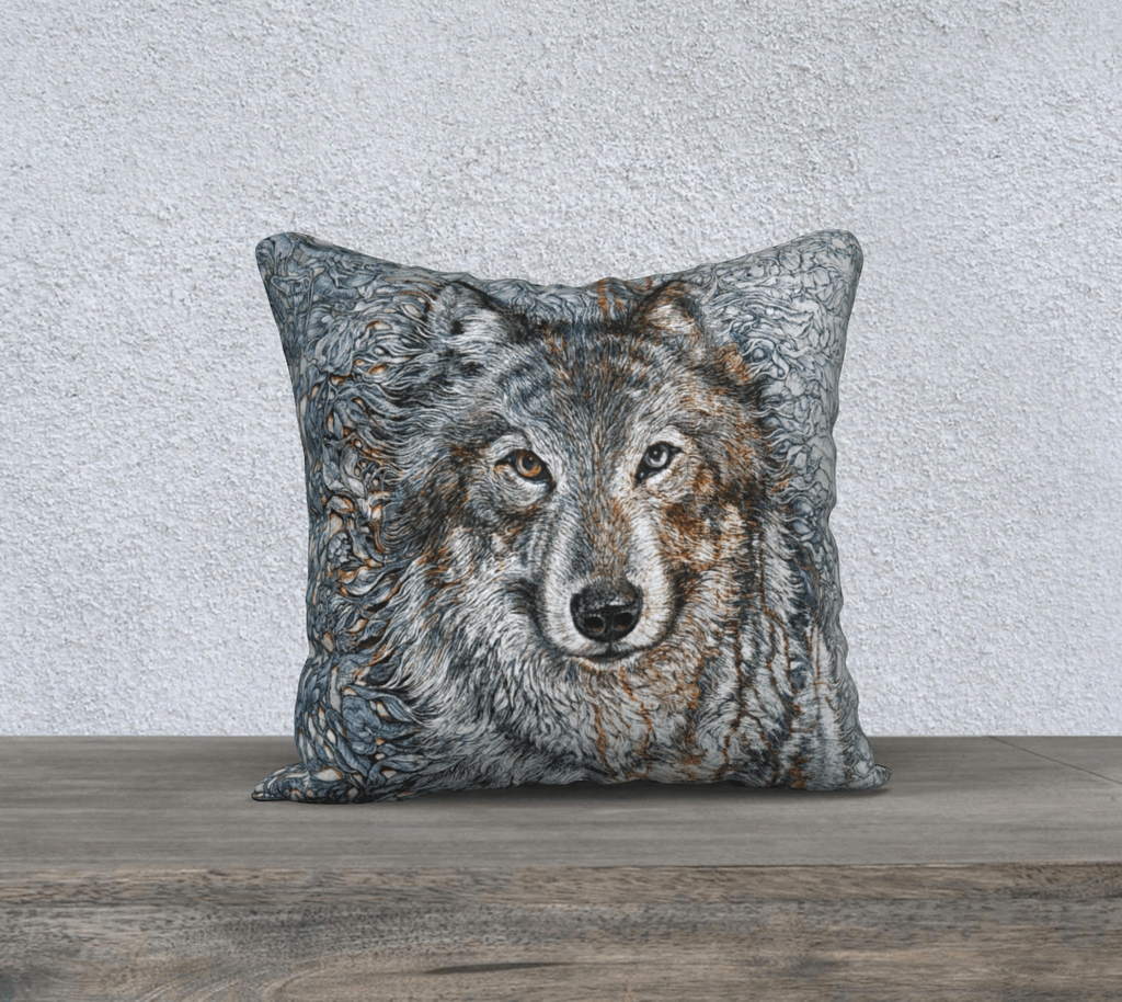 TIMBER WOLF - CUSHION COVER - Col Mitchell ~ Wild Blackbird