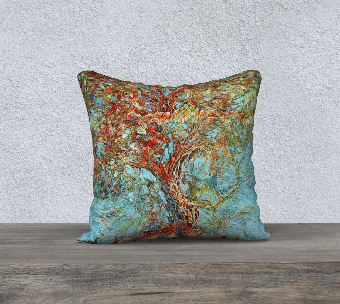TREE OF LIFE 1 - CUSHION COVER - Col Mitchell ~ Wild Blackbird