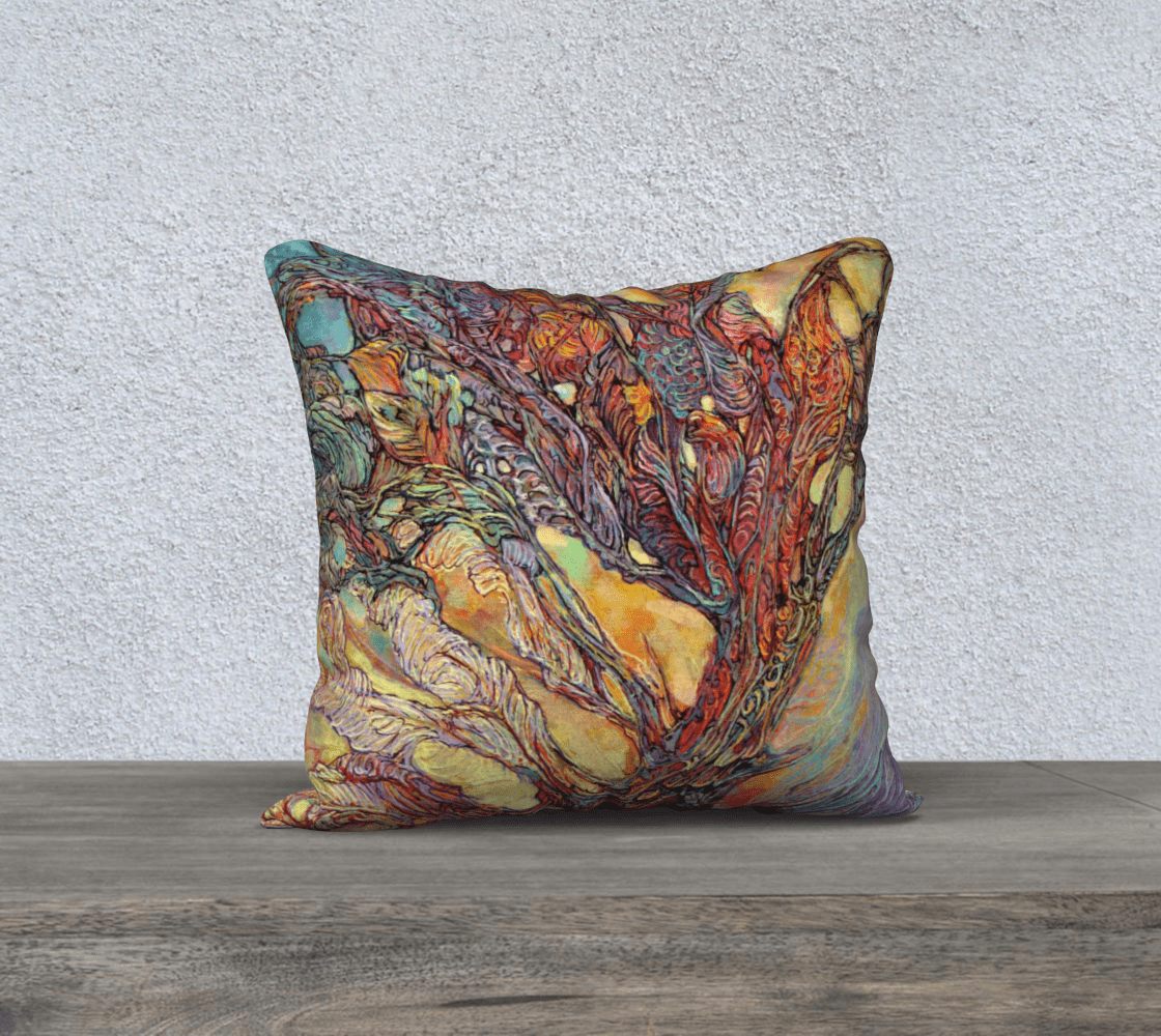 TREE OF LIFE 2 - CUSHION COVER - Col Mitchell ~ Wild Blackbird