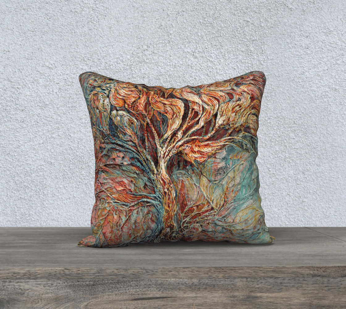 TREE OF LIFE 4 - CUSHION COVER - Col Mitchell ~ Wild Blackbird