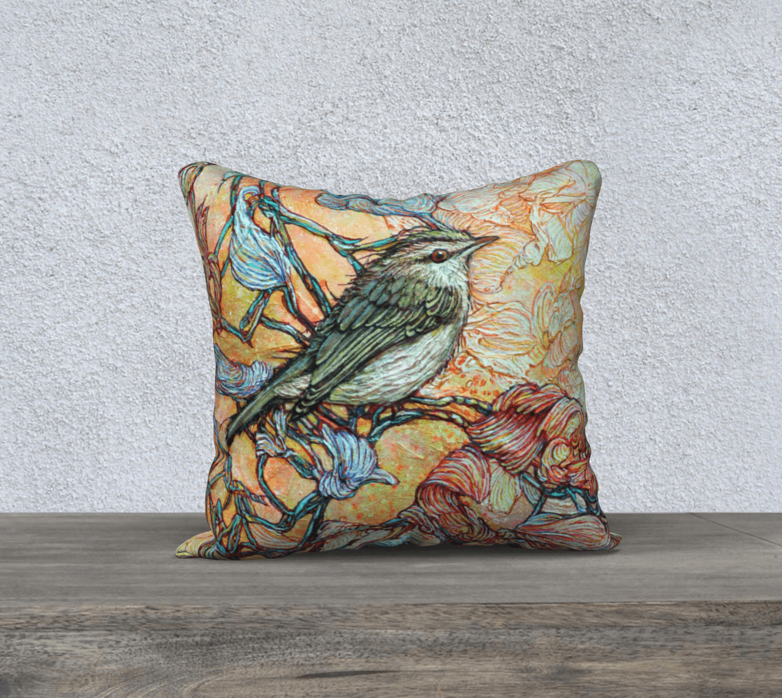 VIREO 1 - CUSHION COVER - Col Mitchell ~ Wild Blackbird