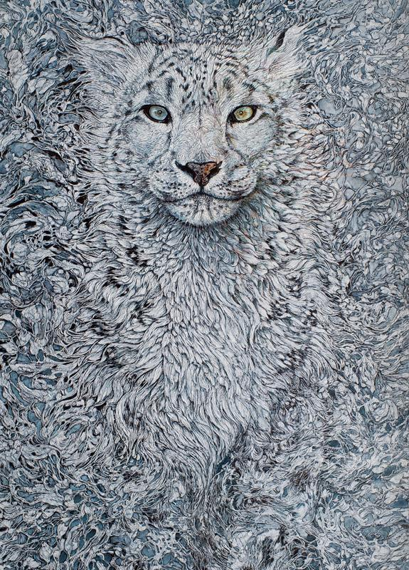 Winter's Ghost Snow Leopard - Art Card - Col Mitchell ~ Wild Blackbird