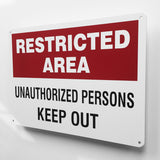 Restricted Area Keep Out Metal Sign