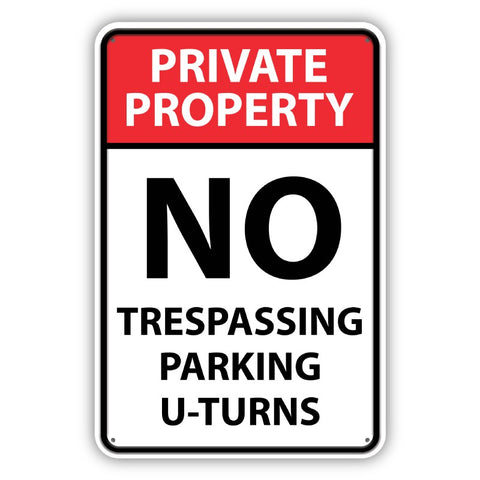 No Parking - U Turns Metal Sign - Sign Store