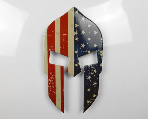 American Flag Spartan Helmet Sign - Sign Store