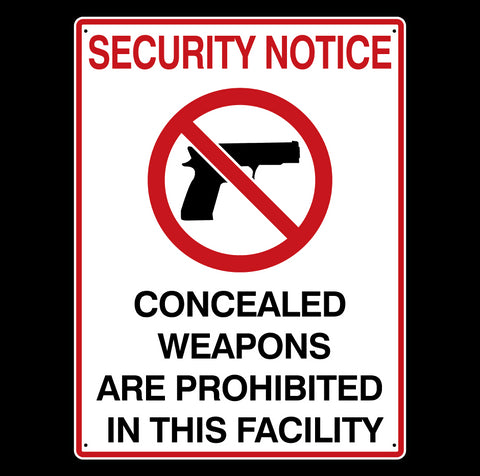 Concealed Weapons Prohibited Metal Signs - Sign Store