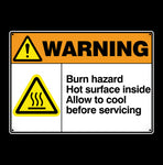 Burn Hazard Warning Metal Sign - Sign Store