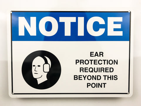 Ear Protection Notice Metal Sign - Sign Store