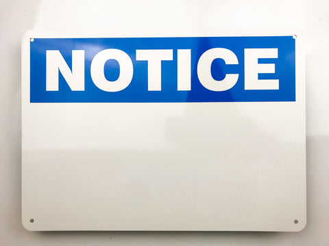 Blank Notice Metal Sign - Sign Store