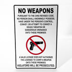 No Weapons Metal Sign - Sign Store