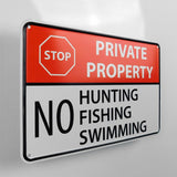 No Hunting - Fishing - Swimming Metal Sign - Sign Store