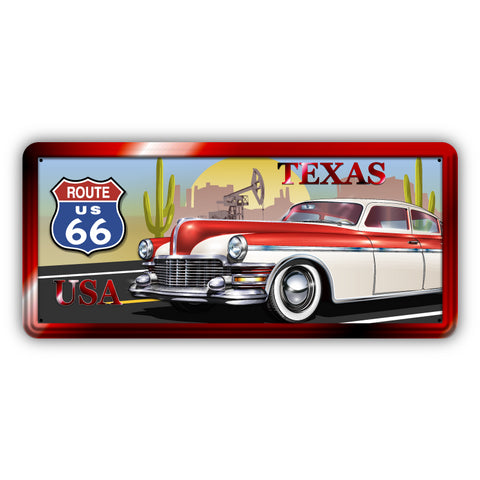 Route 66 Texas Wooden Sign - Sign Store