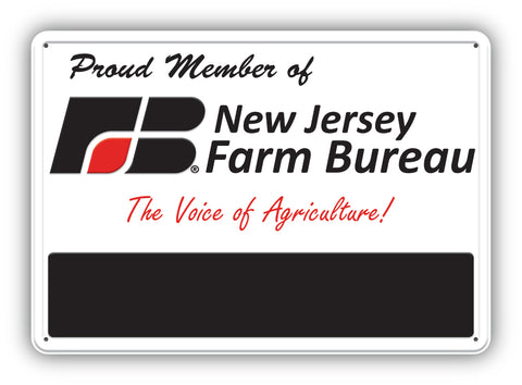 New Jersey Farm Bureau Member Custom Metal Sign