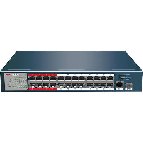 Hikvision 24-Port 100 Mbps Unmanaged PoE Switch - (DS-3E0326P-E) - Afatrading Company Limited