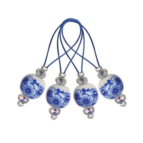 blue and white round knitting stitch markers from Knitter's Pride
