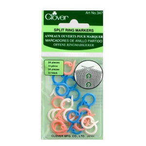 Clover Split Ring Markers for knitting in packaging.