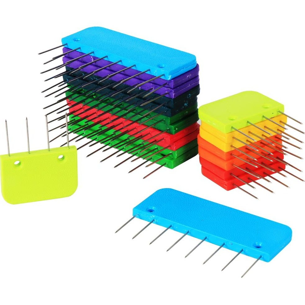 Knitter's Pride set of colorful blocking pins for knitting and crochet projects.