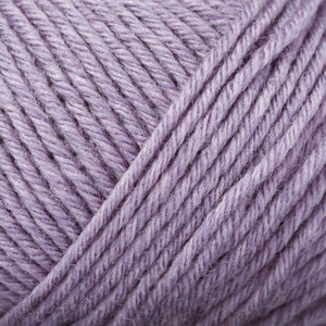 Skein of Rowan Baby Merino Silk DK DK weight yarn in the color Lavender (Purple) for knitting and crocheting.