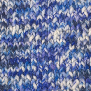 Skein of Berroco Coco Super Bulky weight yarn in the color Pool (Blue) for knitting and crocheting.