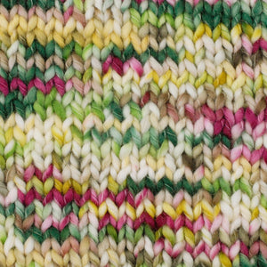 Skein of Berroco Coco Super Bulky weight yarn in the color Meadow (Green) for knitting and crocheting.
