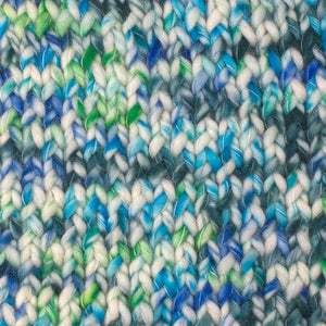 Skein of Berroco Coco Super Bulky weight yarn in the color Coast (Blue) for knitting and crocheting.